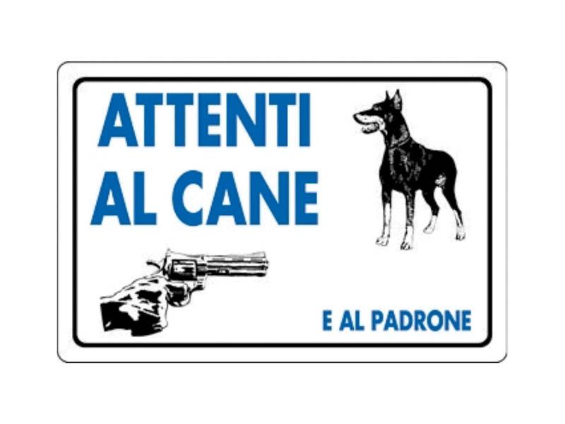 CARTELLO ATTENTI CANE+PADRONE 20X30 PVC