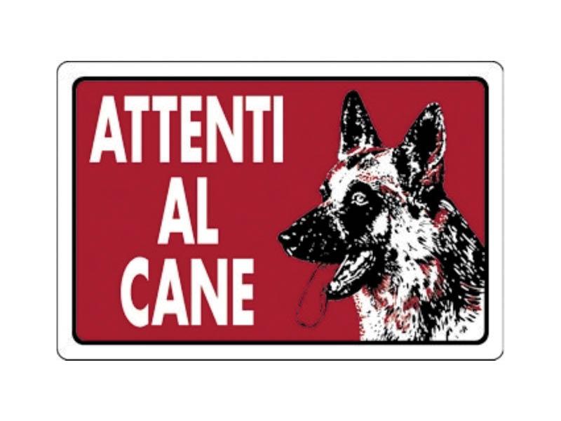 CARTELLO ATTENTI CANE SF.ROSSO 20X30 PVC