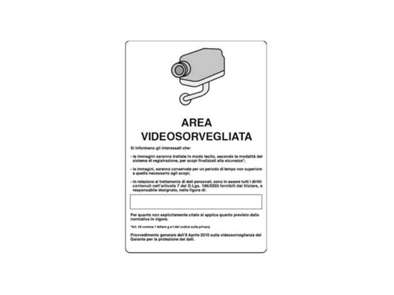 CARTELLO AREA VIDEOSORVEGL.18x12 All