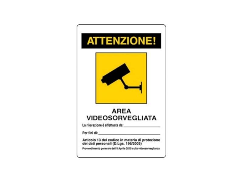 CARTELLO AREA VIDEOSORVEGL.18X12 ADES.