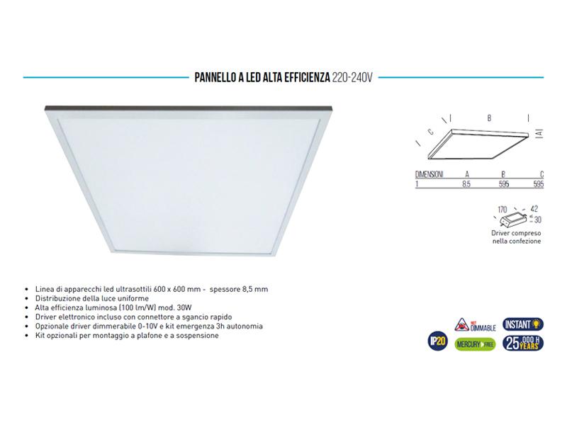 PANNELLO LED 36W CALDA cm.60X60 L3600